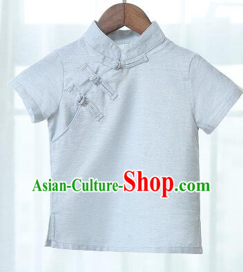 Chinese Style Shirt Min Guo Student Dress Girl Female Kids Show Costume Stage Clothes Light Blue