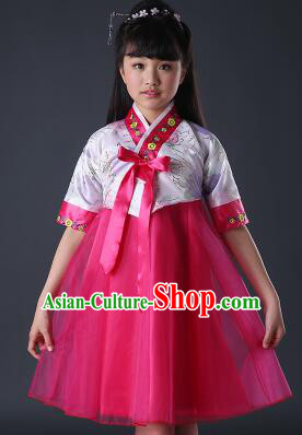 Korean Dress for Girls Children Clothes Stage Costume Formal Dress Full Attire Dancing Costume Show  White Top Red Skirt