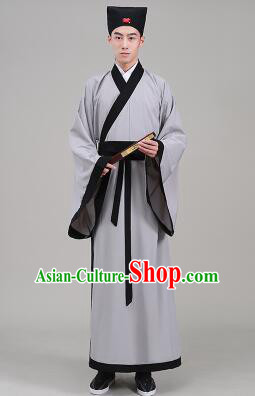 Tang Suit Chinese Traditional Costume Han Fu Garments straight-front Myeonbok Stage Show Dress Gray