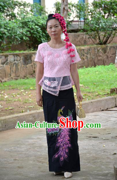 Traditional Asian Thai Dance Costume, Chinese Dai Nationality Long Skirt Black Peacock Skirt Nail Bead Dress for Women