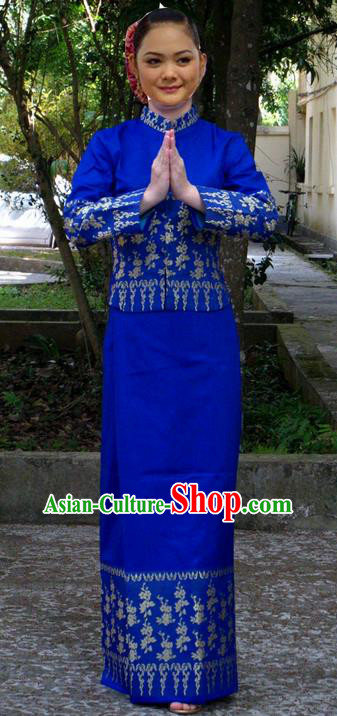 Traditional Asian Thai Dance Costume Complete Set, Thai Silk Nationality Clothing for Women