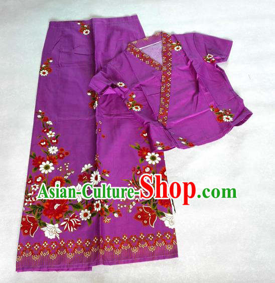 Traditional Asian Thai Costume Complete Set, Thai Top Grade Silk Fabrics Suit for Women