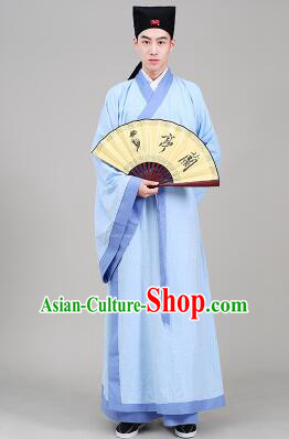 Tang Suit Chinese Traditional Costume Han Fu Garments straight-front Myeonbok Stage Show Dress Blue