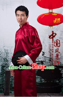 Chinese Traditional Dress Wu Si Period Men Stage Costume Lu Xun Chinese Long Garment