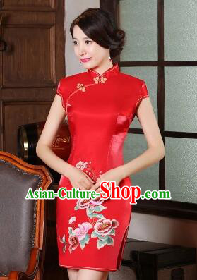 One Piece Dress Qi Pao Cheongsam Styel Short Sleeves Chinese Traditional Clothes