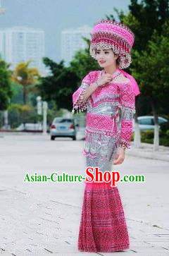 Traditional Chinese Miao Nationality Wedding Costume, Hmong Luxury Female Folk Dance Ethnic Pleated Long Skirt, Chinese Minority Nationality Embroidery Costume for Women