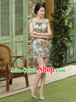Chinese Traditional One Piece Dress Qi Pao Cheongsam Styel Short Sleeves Chinese Traditional Clothes Summer