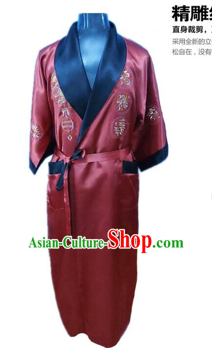 NIght Suit for Men Chinese Loong Dragon Embroidery Reversible Mock Silk Home Gown Black Red