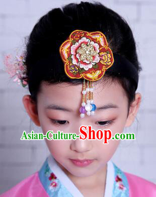 Korean Hair Accessory for Girl Children Hair Accessories Strap Ties Headwrap Kerean Traditional Red