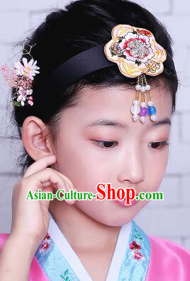 Korean Hair Accessory for Girl Children Hair Accessories Strap Ties Headwrap Kerean Traditional Pink