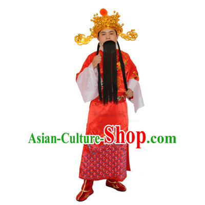 Ancient Chinese God Of Wealth Costume Accessories Set Caishen New Year Celebration Clothing Caishen Dress For Men
