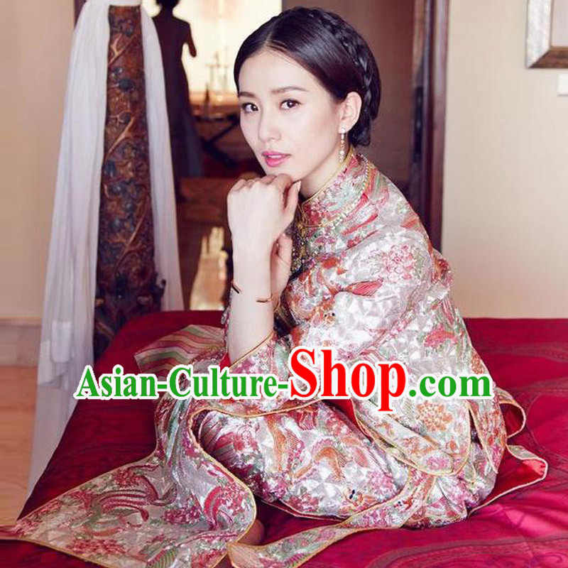 Ancient Chinese Costume, Xiuhe Suits, Chinese Style Wedding Dress, Red Ancient Retro Embroidery Longfeng Dragon And Phoenix Flown, Bride Toast Cheongsam For Women