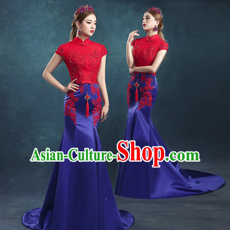 Ancient Chinese Bride Toast Clothing, Cheongsam, Red Long Fishtail Wedding Dress, Traditional Female Chinese Style Bottom Drawer For Women