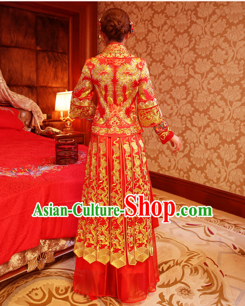 Ancient Chinese Costume Xiuhe Suits Traditional Wedding Dress Red Women Longfeng Dragon And Phoenix Flown Bride Toast Cheongsam