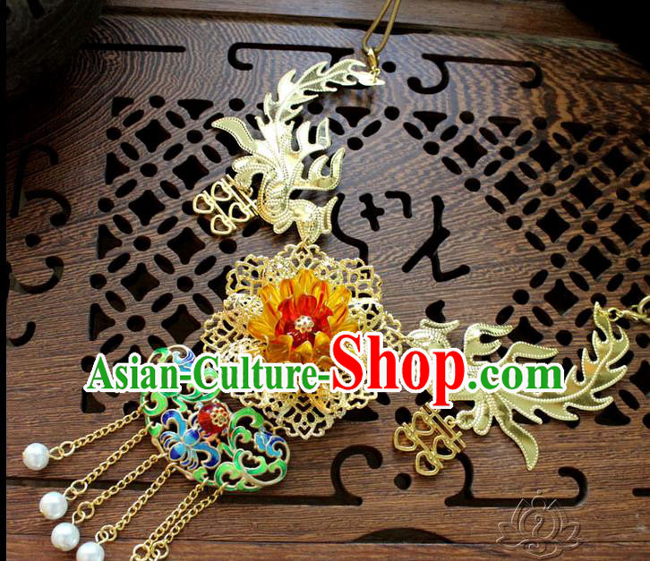 Chinese Imperial Queen Necklace, Empress Necklaces, Xiuhe Suit Hanfu Accessories For Women
