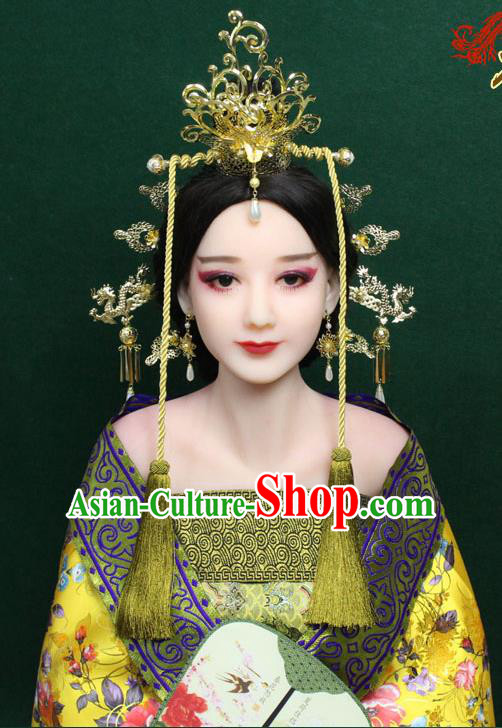 Chinese Ancient Style Hair Jewelry Accessories, Hairpins, Xiuhe Suits Wedding Bride Headwear, Headdress Set, Imperial Empress Handmade Phoenix Hair Fascinators for Women