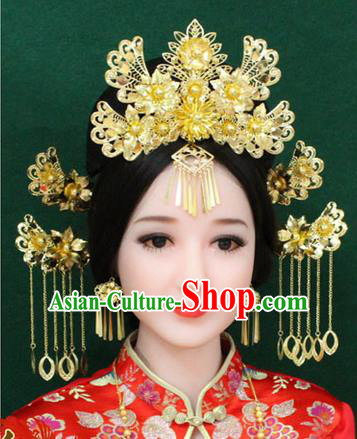 Chinese Ancient Style Hair Jewelry Accessories, Hairpins, Hanfu Xiuhe Suits Wedding Bride Imperial Empress Handmade Phoenix for Women