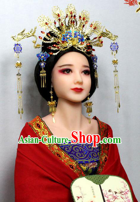 Chinese Ancient Style Hair Jewelry Accessories, Blueing Hairpins, Tang Dynasty Wedding Bride Imperial Empress Handmade Phoenix for Women
