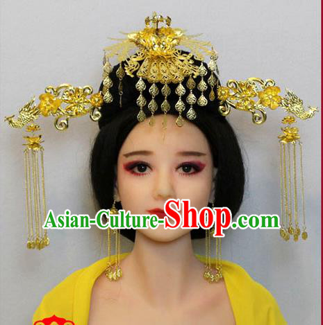 Chinese Ancient Style Hair Jewelry Accessories, Hairpins, Tang Dynasty Wedding Bride Imperial Empress Handmade Phoenix Set for Women
