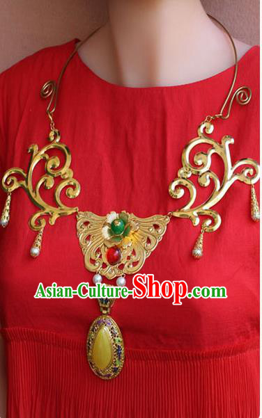 Chinese Imperial Queen Necklace, Empress Necklaces, Xiuhe Suit Necklaces, Wedding Accessories For Women