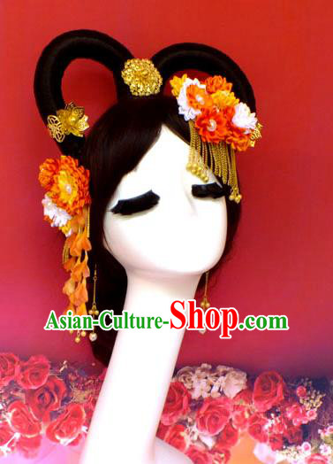 Chinese Ancient Style Hair Jewelry Accessories, Hairpins, Tang Dynasty Wedding Bride Imperial Empress Headwear Set for Women