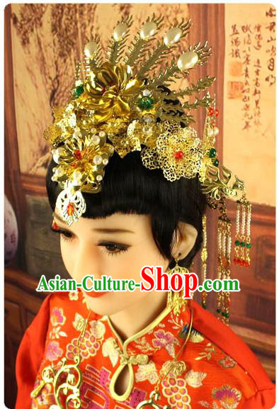 Chinese Ancient Style Hair Jewelry Accessories, Hairpins, Hanfu, Xiuhe Suit Wedding Bride Phoenix Coronet, Hair Accessories for Women