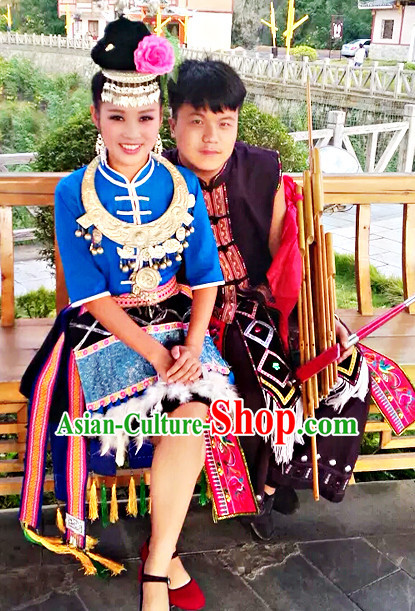 Traditional Chinese Miao Clothing and Hair Jewelry Complete Set for Women