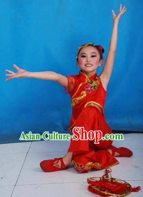 Traditional Chinese Han Ethnic Dance Costume Complete Set for Children