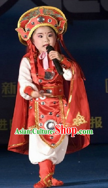 Traditional Chinese Hua Mu Lan Dance Costume Complete Set for Children