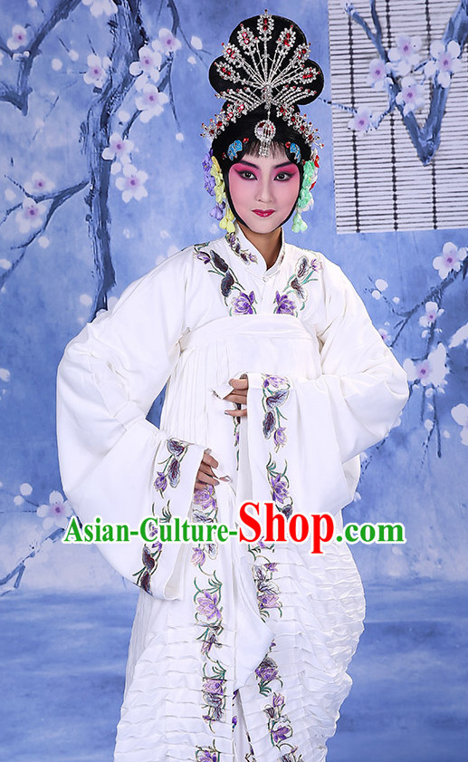 Top Traditional Chinese Beijing Opera Embroidered Hua Dan Long Robe Water Sleeves Costumes