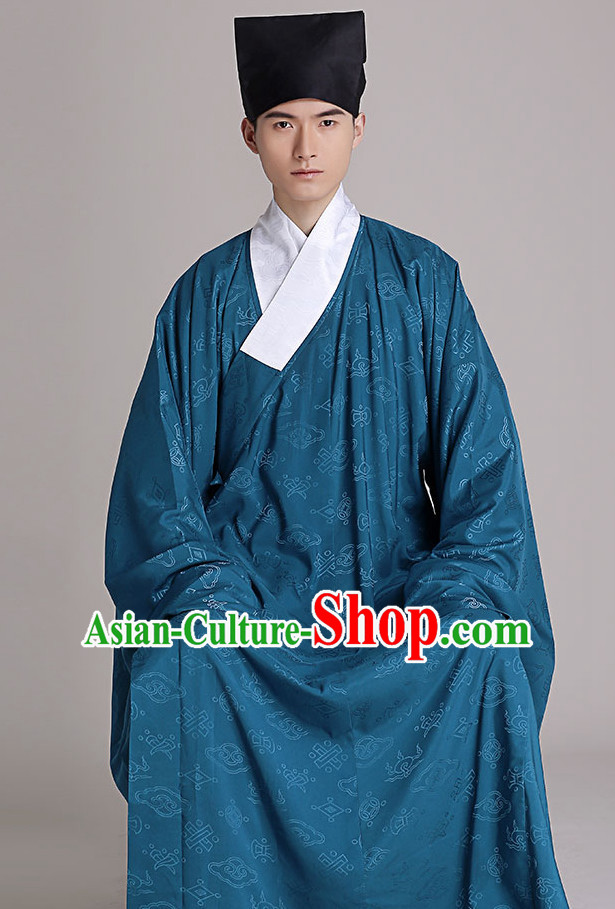 Chinese Style Dresses Kimono Dress Clothing and Hat Complete Set for Men