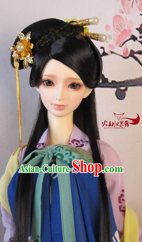Ancient Chinese Style Princess Handmade Hair Jewelry and Black Long Wigs