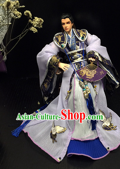 Ancient Chinese Palace Imperial Royal Prince Emperor Hanfu Costumes and Hair Accessories Complete Set for Men Boys Adults Kids