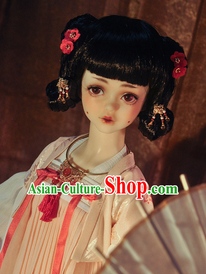 Ancient Chinese Style Black Wigs and Hair Accessories