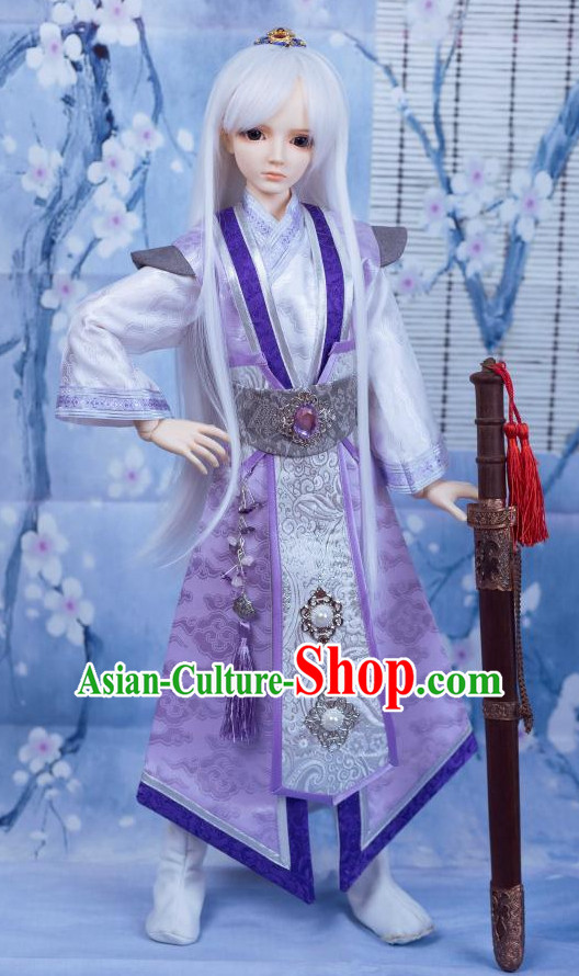 Chinese Style Dresses Chinese Swordsman Clothing Clothes Han Chinese Costume Hanfu and Hair Jewelry Complete Set for Men Adults Children