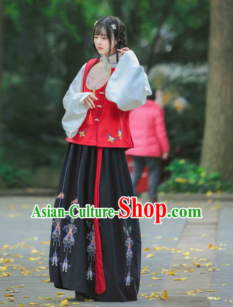 Chinese Classic Ming Dynasty Clothing and Hair Jewelry Complete Set for Women