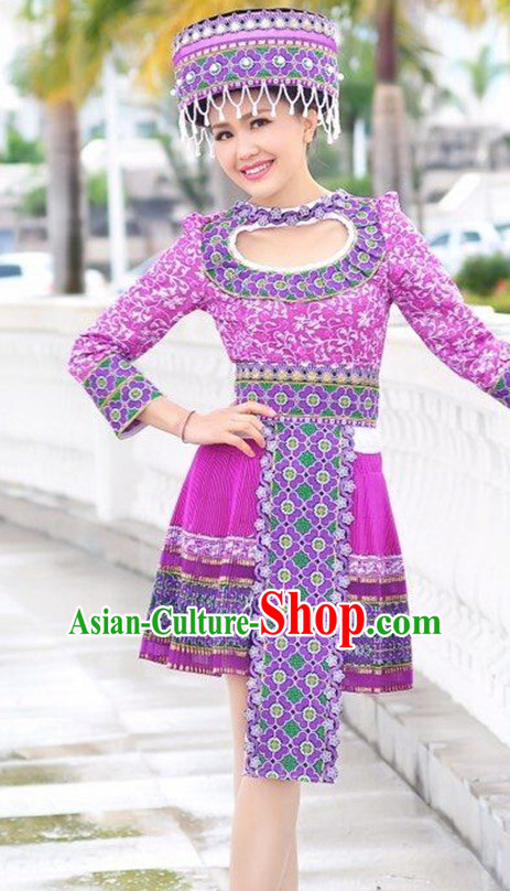 Chinese Traditional Miao Minority Clothing Complete Set for Women