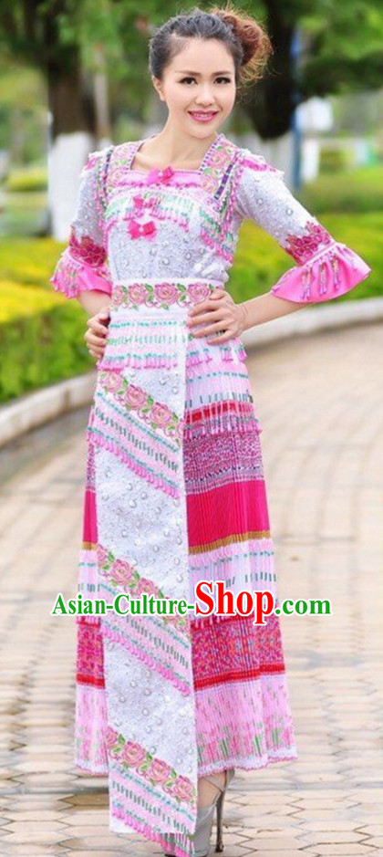 Chinese Traditional Miao Minority Clothes Complete Set for Women