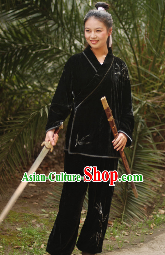 Chinese Ancient Wushu Kung Fu Martial Arts Clothing and Headwear Complete Set for Women Men Boys Adults Kids