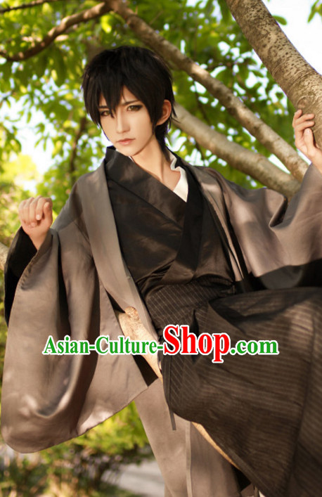 Ancient Japanese Swordsman Style Cosplay Costumes Clothes Complete Set for Men