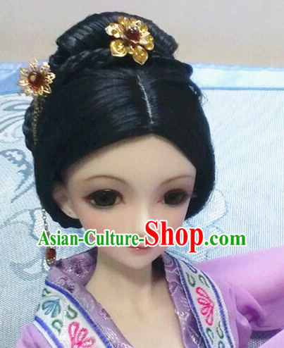 Ancient Chinese Black Long Hair Wigs and Jewelry for Women