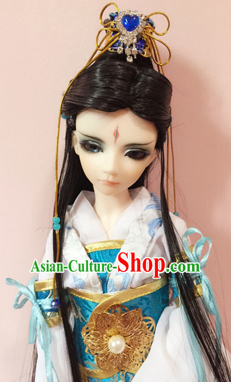 Ancient Chinese Black Long Hair Wigs and Crown for Men
