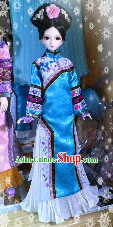 Chinese Classical Qing Dynasty Hanfu Robe Complete Set for Women