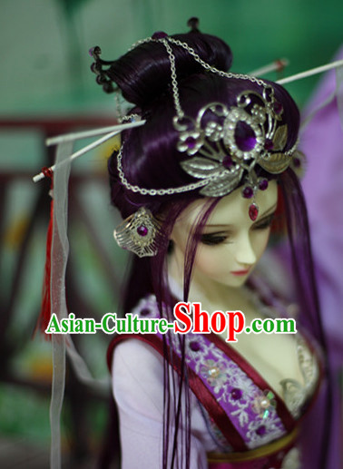 Ancient Chinese Black Long Wigs and Hair Jewelry for Women