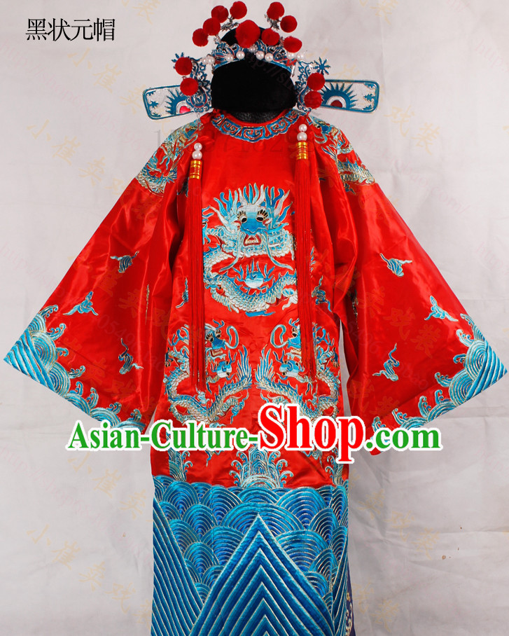 Chinese Classical Cai Shen Ye Embroidered Dragon Robe Costumes