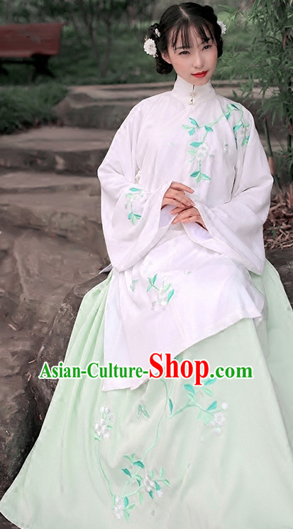 Ancient Chinese Poet Hanfu Garment Clothes and Hair Accessories Complete Set