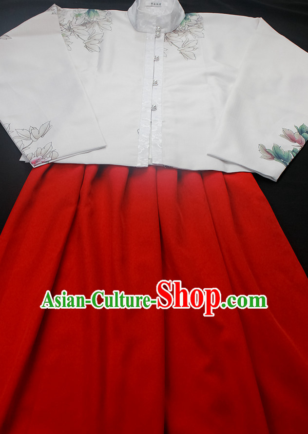Ancient Chinese Hanfu Garment Top and Bottom Clothing Complete Set for Women or Girls