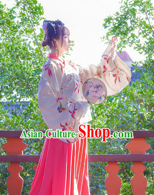 Ancient Chinese Ming Dynasty Han Fu Suits Top and Bottom Clothing Complete Set for Women or Girls