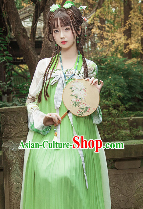 Ancient Chinese Tang Dynasty Princess Clothes Top and Bottom Clothing Complete Set for Women or Girls