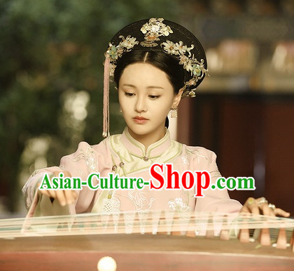 Ancient Chinese Qing Dynasty Handmade Zhen Shuang Princess Empress Queen Style Hair Jewelry